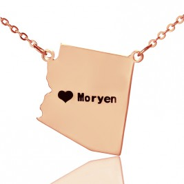 Custom Arizona State Shaped Necklaces With Heart  Name Rose Gold