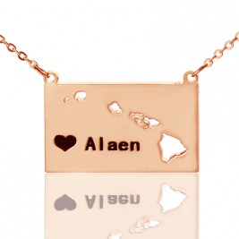 Custom Hawaii State Shaped Necklaces With Heart  Name Rose Gold