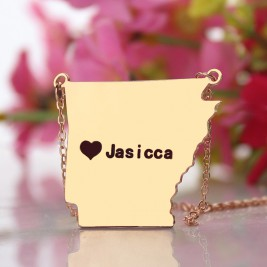 Custom AR State USA Map Necklace With Heart  Name Rose Gold