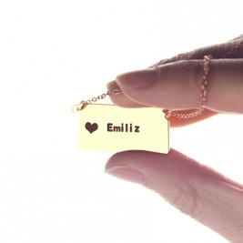 Custom Kansas State Shaped Necklaces With Heart  Name Rose Gold