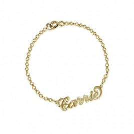 """18ct Gold-Plated Silver """"Carrie"""" Name Bracelet/Anklet"""