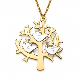 Gold Plated Tree Necklace with 0.925 Silver Initial Birds