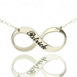 Engraved Name Infinity Necklace Sterling Silver
