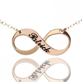 18ct Rose Gold Plated Engraved Infinity Necklace