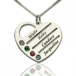 Personalised Mothers Heart Necklace Gift with Birthstone  Name