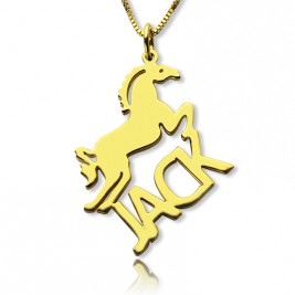 Kids Name Necklace with Horse 18ct Gold Plated