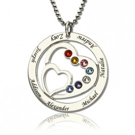 Personalised Heart in Heart Birthstone Name Necklace Silver