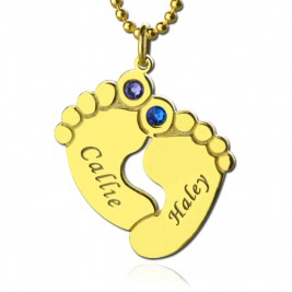 Birthstone Baby Feet Charm Pendant 18ct Gold Plated