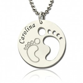Baby Footprint Name Pendant Sterling Silver