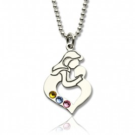 Personalised Mother Child Necklace with Birthstone Silver