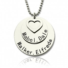 Disc Family Pendant Necklace Engraved Names in Silver