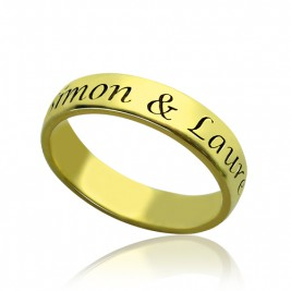 Engraved Promise Name Ring 18ct Gold Plated