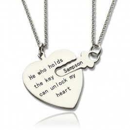 Key and Heart Necklaces Set For Couple
