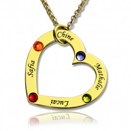 Gold Plated Birthstone Heart Necklace For Mother