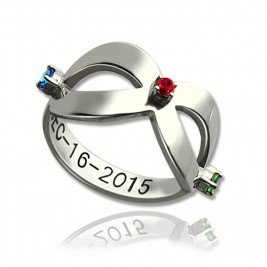 Infinity Birthstones Ring Engraved Date Sterling Silver
