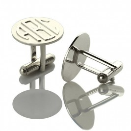 Personalised Mens Cufflinks Block Monogram Sterling Silver