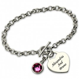 Personalised Charm Bracelet with Birthstone  Name Sterling Silver