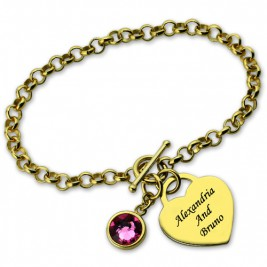 Engravable Birthstone Bracelet with Heart  Name Charm 18ct Gold Plate
