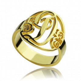 Script Framed Monogram Ring Cut Out 18ct Gold Plated