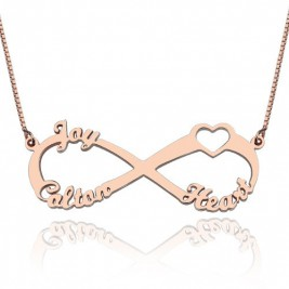 Heart Infinity Necklace 3 Names 18ct Rose Gold Plated