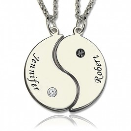 Gifts for Him  Her - Yin Yang Necklace Set with Name  Birthstone