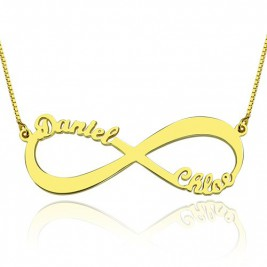 18ct Gold Plated Infinity Necklace Double Name