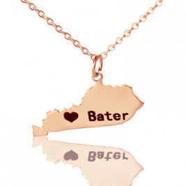 Custom Kentucky State Shaped Necklaces With Heart  Name Rose Gold