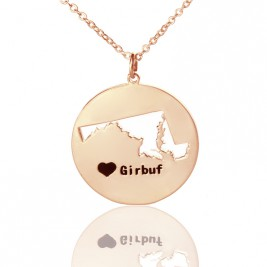 Custom Maryland Disc State Necklaces With Heart  Name Rose Gold