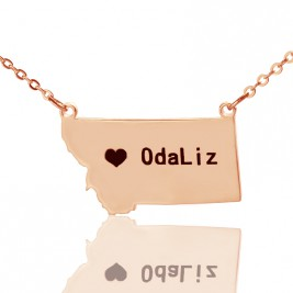 Custom Montana State Shaped Necklaces With Heart  Name Rose Gold