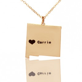 Custom New Mexico State Shaped Necklaces With Heart  Name Rose Gold