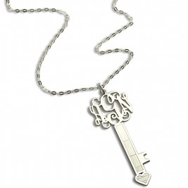 Personalised Key Necklace Sterling Silver with Monogram