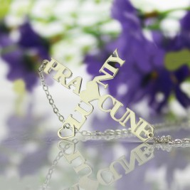 Personalised Two Name Cross Necklace Sterling Silver
