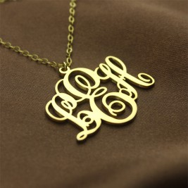 Personalised Vine Font Initial Monogram Necklace 18ct Gold Plated