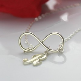 Infinity Necklaces with Initial Letter Charm Silver