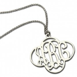 Personalised Cut Out Clover Monogram Necklace Sterling Silver