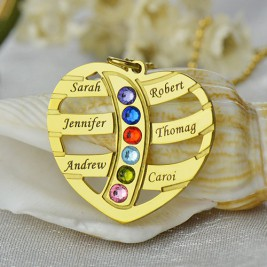 Mothers Necklace With Children Names  Birthstones 18ct Gold Plated