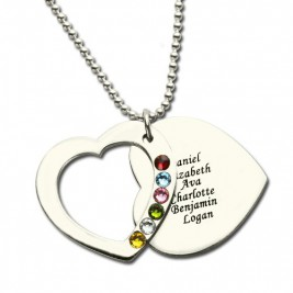 Heart Family Necklace With Birthstone Sterling Silver