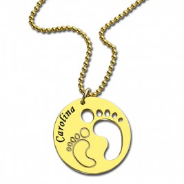 Cut Out Baby Footprint Pendant 18ct Gold Plated
