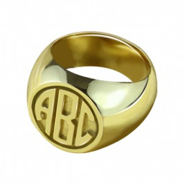 Customised Signet Ring with Block Monogram 18ct Gold Plated