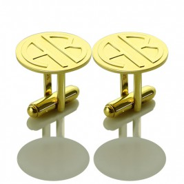 Cufflinks for Men with Block Monogram 18ct Gold Plated