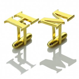 Best Initial Cufflinks 18ct Gold Plated