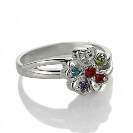 Promise Flower Ring Engraved Name  Birthstone Sterling Silver