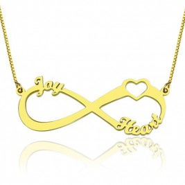 Heart Infinity Necklace 3 Names 18ct Gold Plated