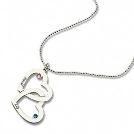 Double Heart Necklace with Name  Birthstones Sterling Silver