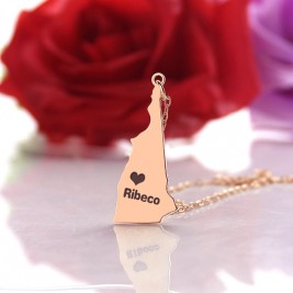 Custom New Hampshire State Shaped Necklaces With Heart  Name Rose Gold