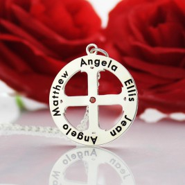 Family Circle Cross Name Necklace Silver