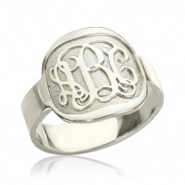 Engraved Designs Monogram Ring Sterling Silver