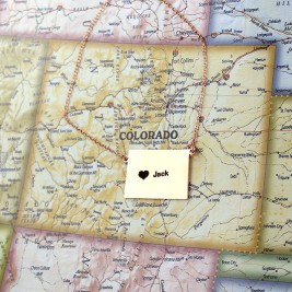 Custom Colorado State Shaped Necklaces With Heart  Name Rose Gold