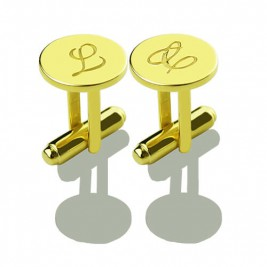 Custom Script Initial Cufflinks for Men 18ct Gold Plated