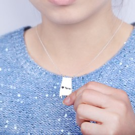 Custom Alabama State USA Map Necklace With Heart  Name Silver